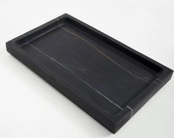 Adorist Marble Tray Rectangular Dark Grey
