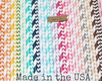 Paper Straws, You Pick Colors, Stripe Paper Straws Chevron Paper Straws Wedding Baby Shower Party Supplies, Straws, Paper Goods, Made in USA