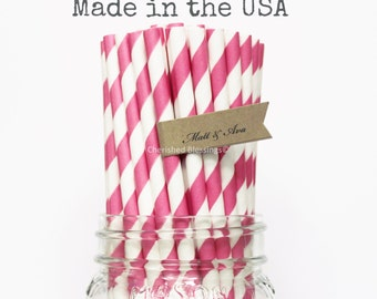 Hot Pink Paper Straws, 25 Hot Pink Striped Paper Straws, Made in USA, Princess Party Supplies Wedding, Rustic Wedding, Baby Shower, Straws