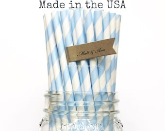 50 Light Blue Paper Straws, Baby Blue Stripe Paper Straws Powder Blue Vintage Wedding Rustic Baby Shower Princess Birthday Party Made in USA