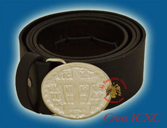 nouveaux styles large choix de couleurs attrayant et durable Monastique orthodoxe cuir ceinture avec boucle en métal avec des  représentations religieuses icônes Nickel plaqué No.6567-00