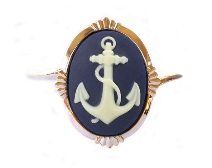 Nautical Anchor Bracelet - Ivory Navy Blue Cameo - Silvertone Cuff
