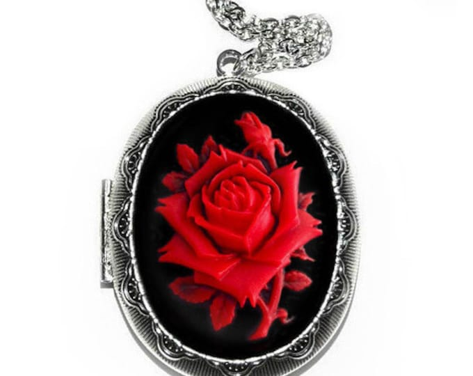 Red Rose Cameo Locket Necklace