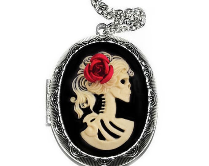 Skeleton Locket - Lolita Cameo Necklace - Ivory Skull Lady Zombie