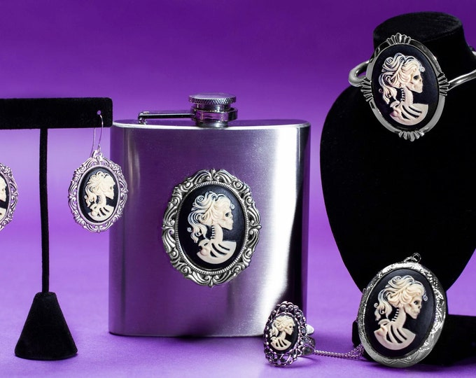 Lolita Cameo Collection - Skull Locket Necklace - Lolita Ring - Skeleton Cameo Earrings - Gothic Flask