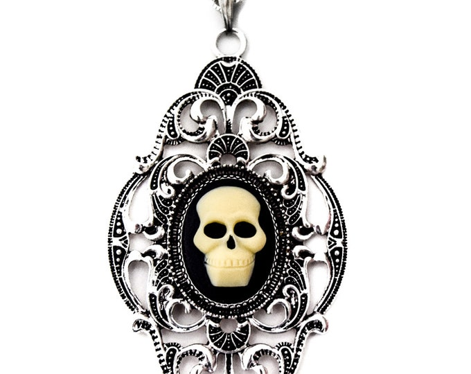 Skull  Cameo Diamond Art Deco Necklace -  - Halloween Wedding