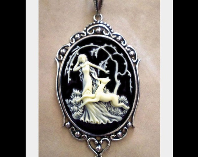 Goddess Cameo Necklace - Victorian Ivory Girl With Fawn
