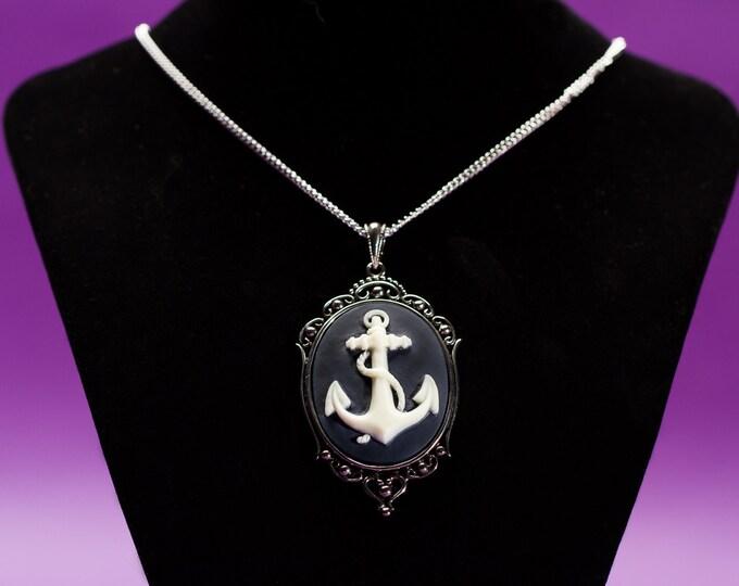 Nautical Anchor Cameo Necklace