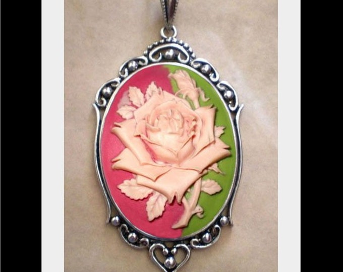 Gothic Pink Rose Plum Green Cameo Necklace - Victorian Day of the Dead