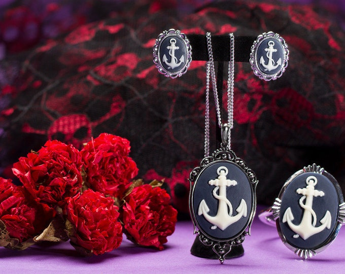 Anchor Cameo Necklace Earrings Bracelet Set