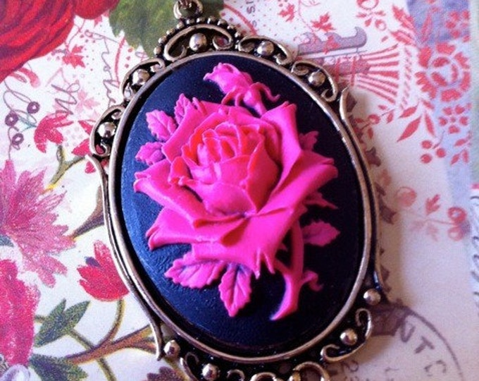 Gothic Victorian Hot Pink Rose Silhouette Cameo Necklace