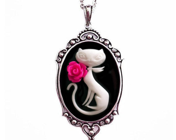 Cat Necklace - Antique Silver Jewelry - Kitty Cameo Jewelry