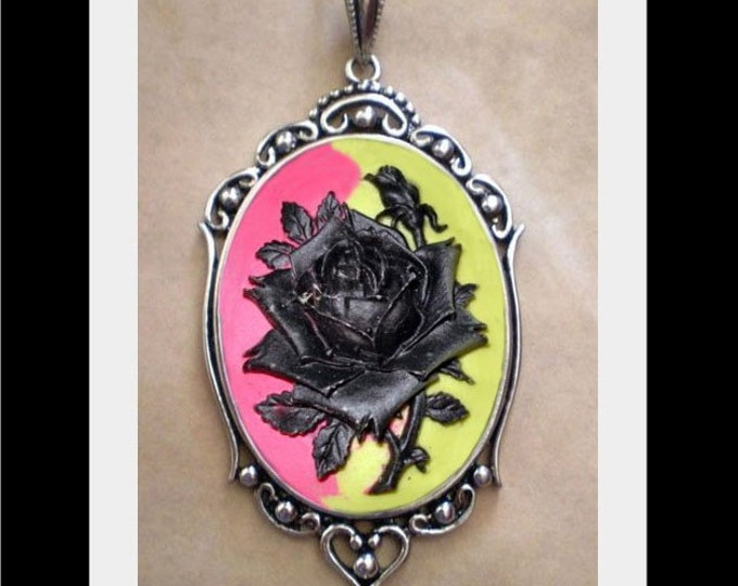 Gothic Black Rose Pink Green Cameo Necklace - Victorian Day of the Dead