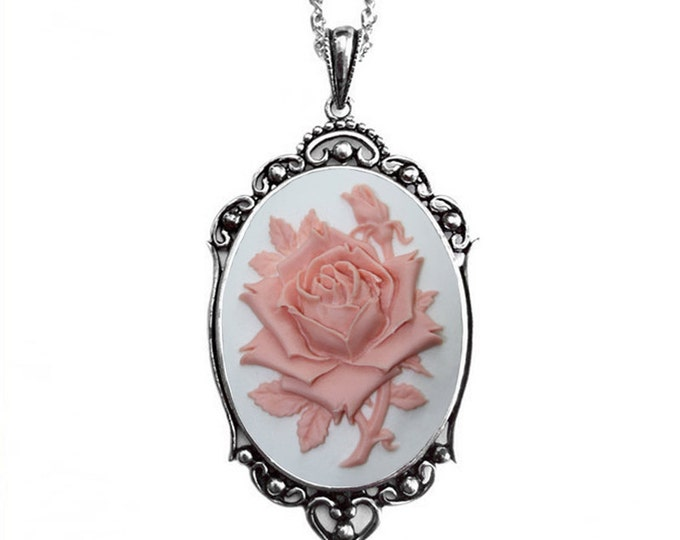 Bridal Necklace - Pink Rose Cameo - White Background