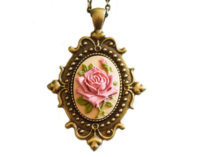 Ivory Pink Rose Gothic Pendant Shabby Chic