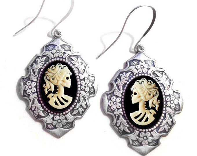Skull Earrings, Dangle Earrings, Gift For Her, Cameo Earrings