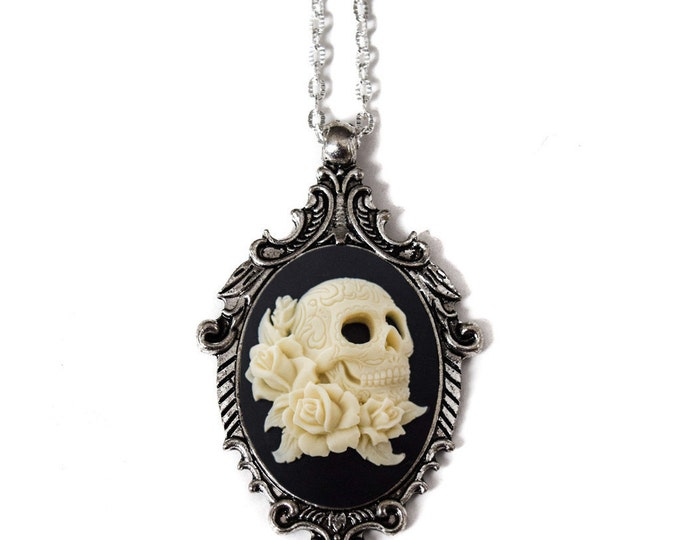 Day of the Dead Necklace - Skull Cameo Pendant