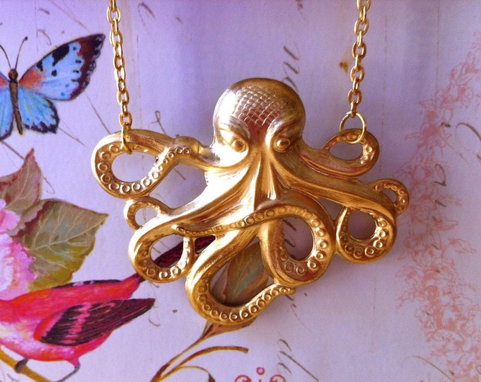 Gift For Her, Brass Octopus Necklace, Daughter Gift, Nautical Jewelry, Girlfriend Jewelry, Womens Gift, Girlfriend Gift