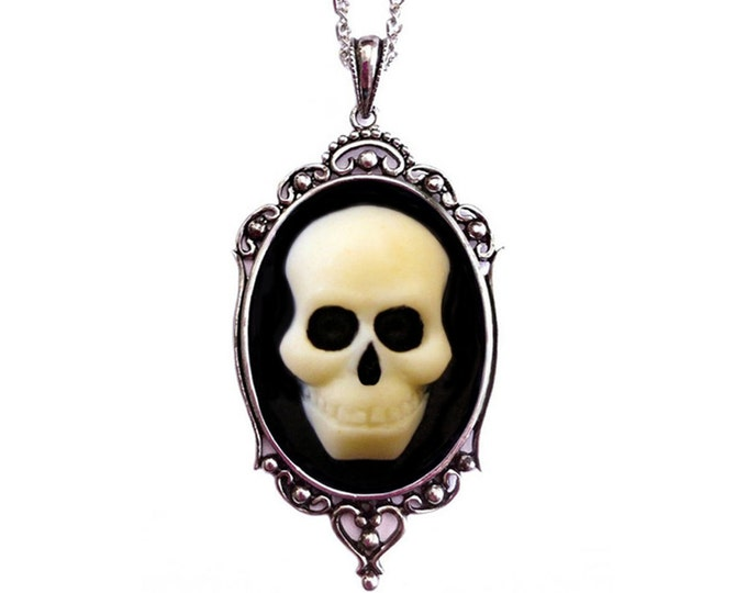 Halloween Jewelry - Skull Cameo Necklace - Petite Jewelry - Halloween Wedding