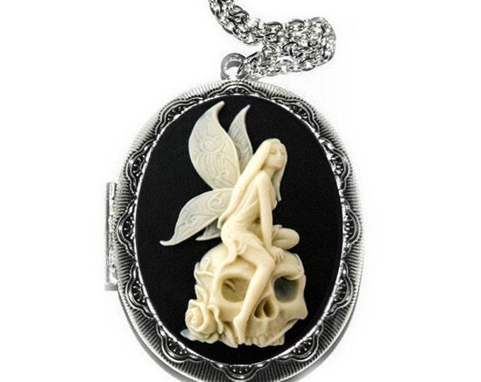 Angel Skull Locket - Fairy Cameo Necklace