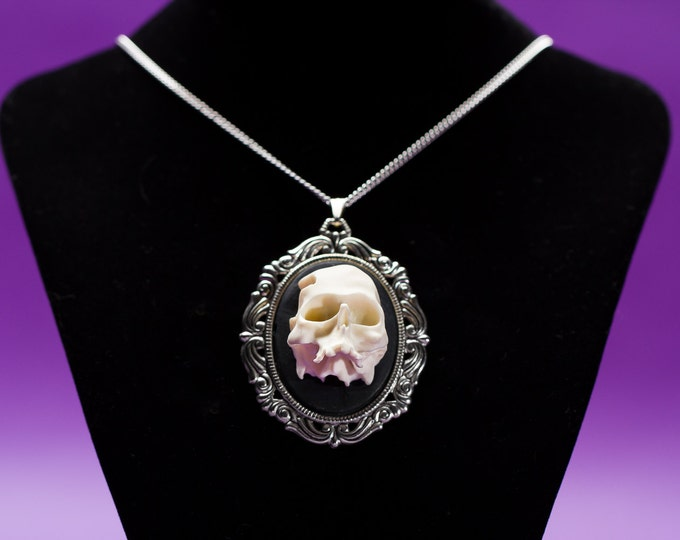 Half Skull 3D Cameo Necklace - Ivory Black Zombie Cameo Pendant