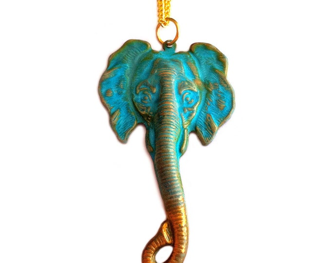 Elephant Necklace - Patina Verdigris - 18K Gold Filled Chain -Vintage Brass Pendant - Fashion Jewelry