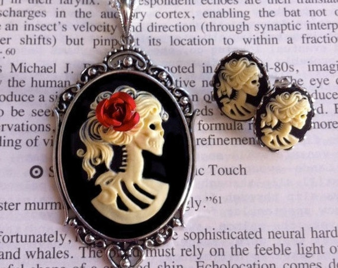 Halloween Jewelry - Skeleton Cameo Necklace Earrings Set - Lolita Ivory Zombie