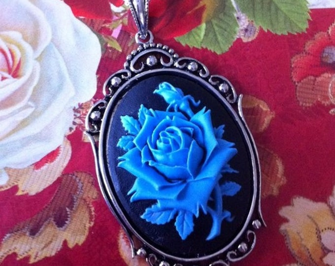 Gothic Blue Rose Cameo Necklace