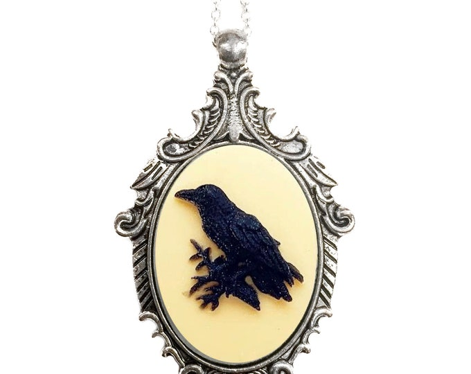 Victorian Style Raven Cameo Necklace in Yellow and Black, Birds, Crow, Vintage Ornate Antique Silver, Choose Your Length