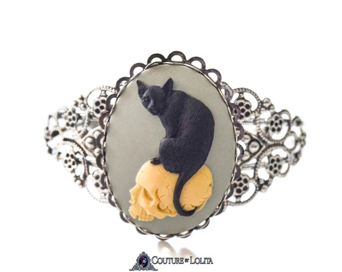 Cat Skull Cameo Bracelet - Victorian Cuff Bangle