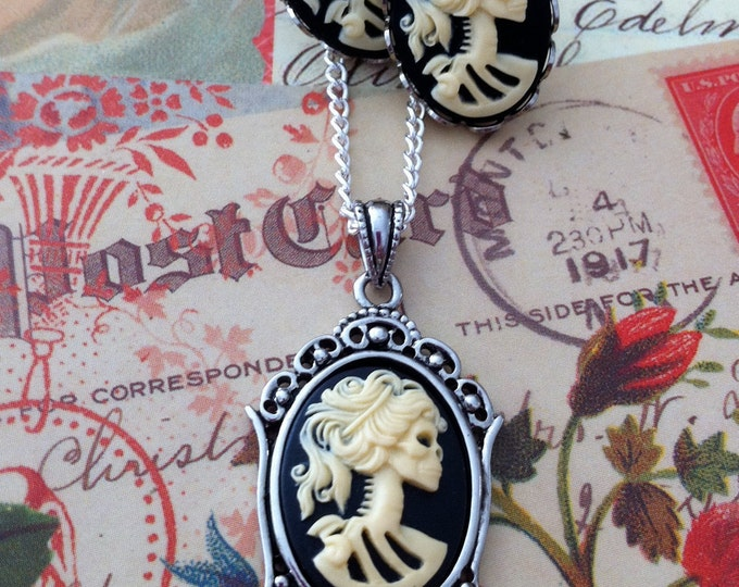 Skeleton Cameo Necklace Earrings Set - Small Lolita Goddess Ivory Black Cameo - Victorian Zombie