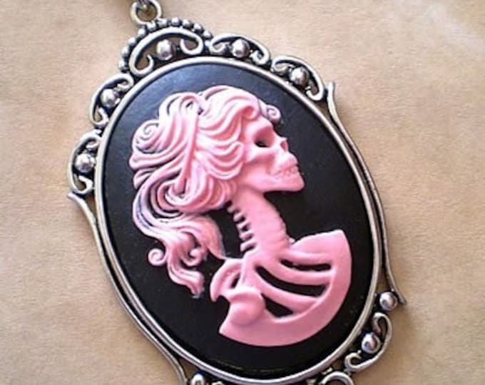 Gothic Pink Black Lolita Skeleton Cameo Necklace - Victorian Zombie Lady Day of the Dead