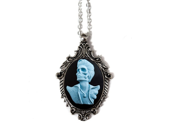 Day of the Dead Rocker Necklace - Skeleton Cameo Jewelry