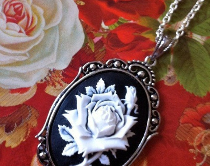 Gothic Victorian White Rose Silhouette Cameo Necklace