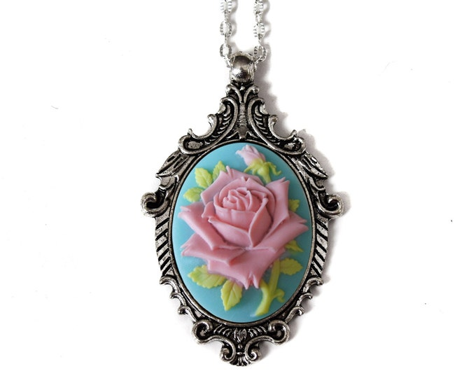 Shabby Chic Necklace, Pink Rose Blue, Mom Birthday Wedding Anniversary Gift, Fall Vintage Inspired Necklace