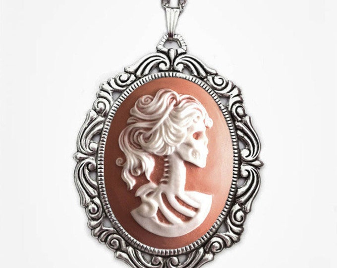 Lolita Skull Lady Cameo Necklace - Pink Victorian Zombie