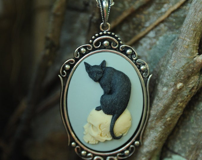 Cat Skull Necklace - Antique Silver Jewelry - Kitten Cameo Jewelry