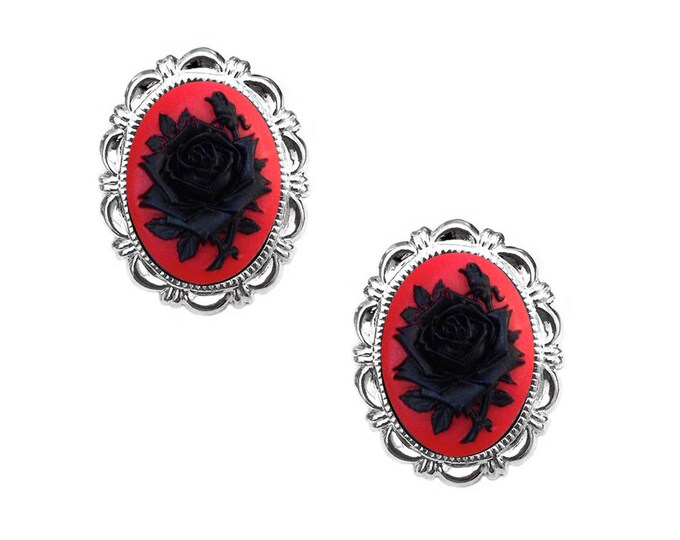 Red Rose Earrings - Gothic Jewelry