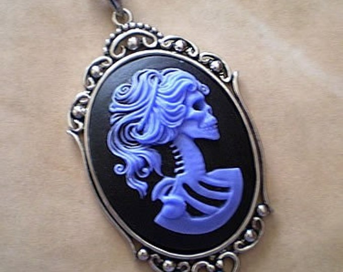 Skeleton Cameo Necklace - Victorian Zombie Lady - Gothic Midnight Blue Lolita
