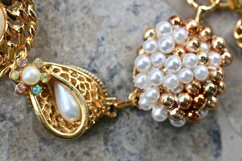 Aurora Gold White Vintage Wedding Bracelet Milk Glass AB Statement Pearl AB gift for her Upcycled Earrings Jennifer Jones OOAK