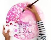 Pink Cherry Moon | Art Print Blossom Nursery Decor Spring Modern Art Pink Boho Floral Art Print Baby Shower Gift for Her CreativeIngrid