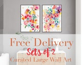 Set of 2 Watercolor Large Prints. Free Delivery. Floral Bustle and Aura Set of Prints. Flower Watercolor Paintings. CreativeIngrid.