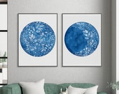 Set of 2 Prints Moon Phases Art Print Full Moon and Waxing Moon Flower Moon Watercolor Blue Decor for Bedroom CreativeIngrid