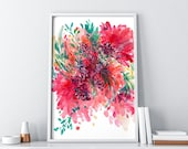 Large Floral Wall Art. Wall Art Prints. Contemporary Modern Abstract Art. Gift for her. Pink Watercolor Flower Print. CreativeIngrid Florals