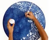 Waxing Flower Moon Celestial Print | Art Print Blue Bedroom Decor | Blue Galaxy Moon with Stars | Watercolor Wall Art by CreativeIngrid