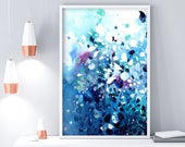 Water and Earth | Abstract Blue Watercolor Painting Art Print Blue Home Decor Ideas Sea House Decor Classic Blue Pantone 2020 CreativeIngrid