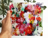 Abstract Dream - Resin Coated Art Print Mounted on Wood Panel  - Small Floral Wall Art Print by CreativeIngrid