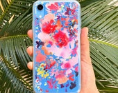 iPhone Case Cover, Blue Background with Pink Flowers | Phone Case with Floral Watercolor Art by CreativeIngrid | Blue and Fuchsia Phone Case