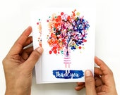 Thank You Cards Bulk Greeting Cards Thank You Gift Card Pack Thank You Flower Watercolor Cards A6 with Envelopes Gift for Her CreativeIngrid