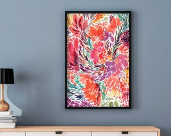 Floral Painting Print. Modern Watercolor Art Prints. Abstract Flower Wall Art. Watercolor Design Ideas. Colorful Artwork for Wall.